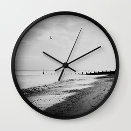 black and white Southwold beach photograph Wall Clock