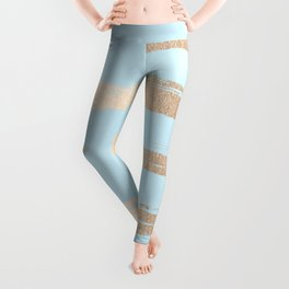 Abstract Paint Stripes Gold Tropical Ocean Sea Turquoise Leggings