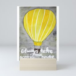 Yellow hot air balloon Mini Art Print