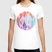 bedding T-shirts featuring Purple & Peach Love - abstract painting in rainbow pastels by micklyn