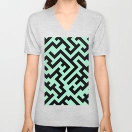 Black and Magic Mint Green Diagonal Labyrinth Unisex V-Neck