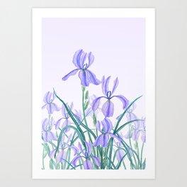 purple iris watercolor Art Print