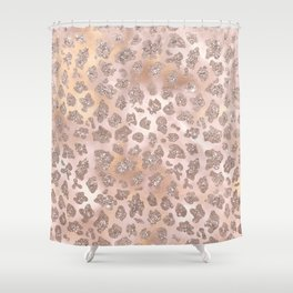Rosegold Blush Leopard Glitter Shower Curtain