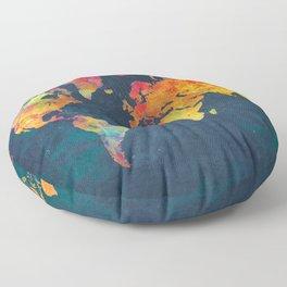 World Map blue #world #map Floor Pillow