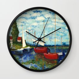 """Artistic Impression of Claude Monet's """"Red Boats at Argenteuil"""" Wall Clock"""