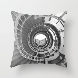 Grays Harbor Lighthouse Black and White Spiral Staircase Stairs Pattern Coastal Beach Washington Northwest Throw Pillow