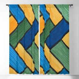 Blue, Green, Gold Herring Bone Color Blocks Blackout Curtain