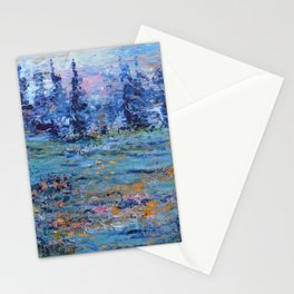Abstract Landscape Palette Knife Painting, Rainbow Lake, Navy Blue, Gold, Green Stationery Cards
