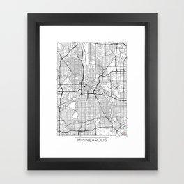 Minneapolis Map White Framed Art Print