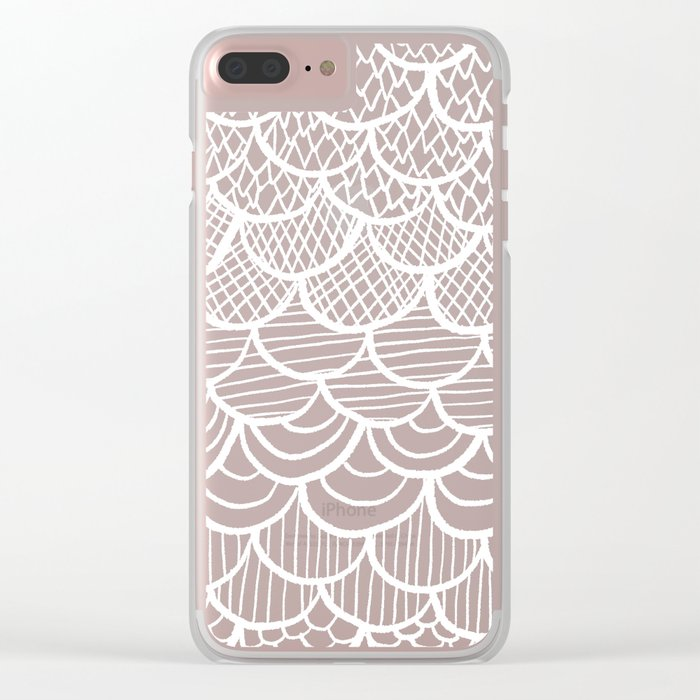 Modern hand drawn summer geometric mermaid scallop pink orange ombre watercolor Clear iPhone Case