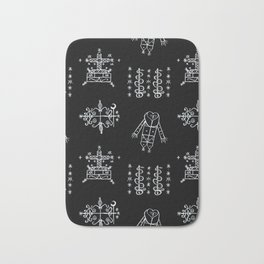 Papa Legba + Baron Samedi + Gran Bwa + Damballah-Wedo Voodoo Veve Symbols in Black Bath Mat