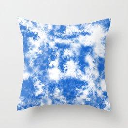 Blue Tie Dye & Batik Throw Pillow
