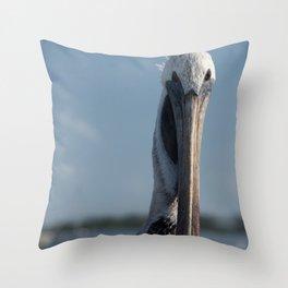 Bob The Pelican Color Animal / Coastal Bird Wildlife Photograph Throw Pillow