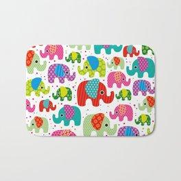Colorful india elephant kids illustration pattern Bath Mat