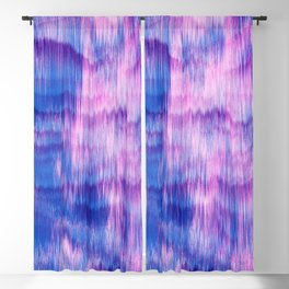 Modern Abstract Electric Blue Pink Watercolor Ikat Blackout Curtain