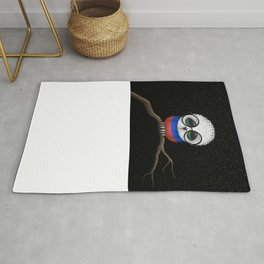 Baby Owl with Glasses and Russian Flag Rug
