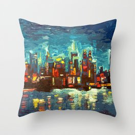 Abstract NYC Skyline Throw Pillow