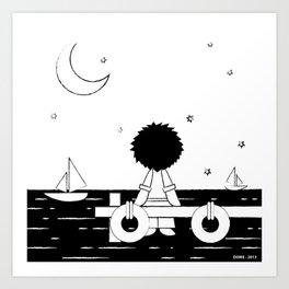 Midnight Harbour - Retraced Art Print
