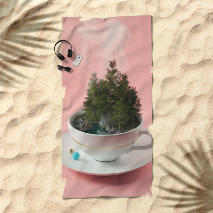 Hot cup of tree Beach Towel