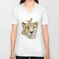 cheetah V-neck T-shirts featuring Cheetah by dogooder