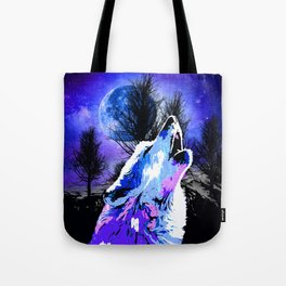 NEBULA WOLF MOON TREE MOUNTAIN SPARKLE Tote Bag