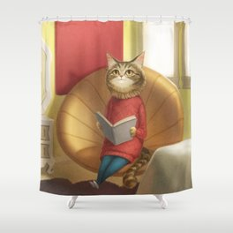 A cat reading a book Shower Curtain
