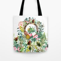 new year Tote Bags featuring NEW YEAR by Burcu Korkmazyurek