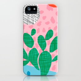 Lampin' - memphis throwback style retro neon cactus desert palm springs california southwest hipster iPhone Case