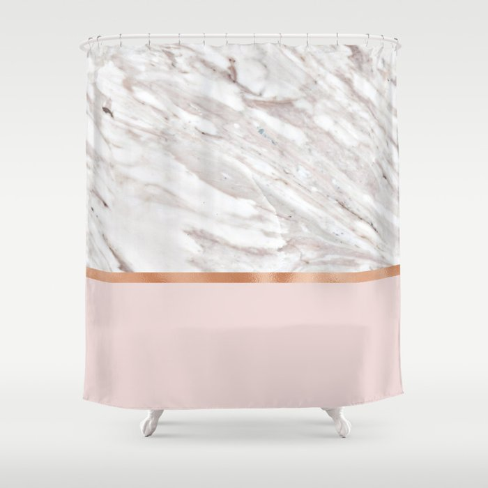 Calacatta Marble On Rose Gold Blush Shower Curtain By Marbleco