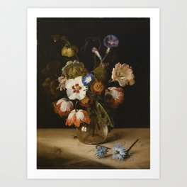 Dirck de Bray - Flowers in a Glass Vase Art Print