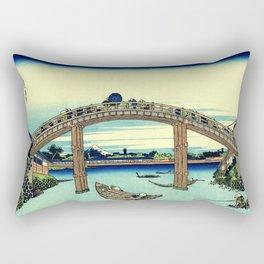 Under Mannen Bridge at Fukagawa (Fukagawa Mannen-bashi shita or 深川万年橋下) Rectangular Pillow