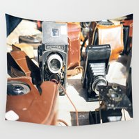 cameras Wall Tapestries featuring Vieux Nice Vintage Cameras by ExperienceTheFrenchRiviera