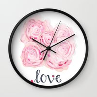 shabby chic Wall Clocks featuring Shabby Chic Rose Bouqet by KarenHarveyCox