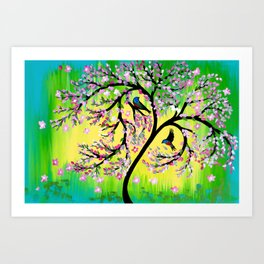Green Tree of Life With Japanese Cherry Blossom Art Print