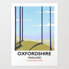 Oxfordshire vintage style travel poster Art Print