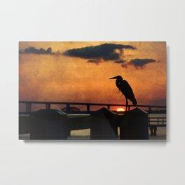 Heron Silhouette Metal Print