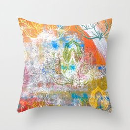 Collage de Mudra Throw Pillow