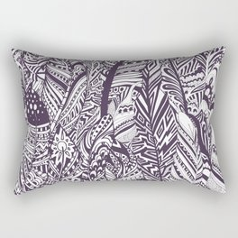 Purple white hand painted tribal bohemian feathers pattern Rectangular Pillow