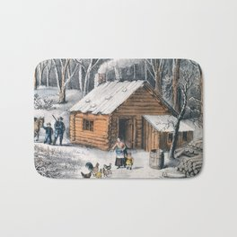 Vintage Home in The Wilderness Painting (1870) Bath Mat