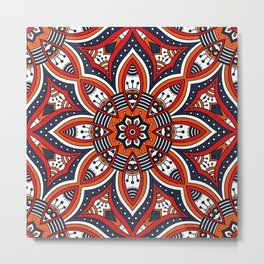 Painterly Nature Boho Floral Mandala Metal Print