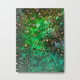 RAINBOW DOTTY OCEAN 3 Green Lime Ombre Space Galaxy Colorful Polka Dot Bubbles Abstract Painting Art Metal Print