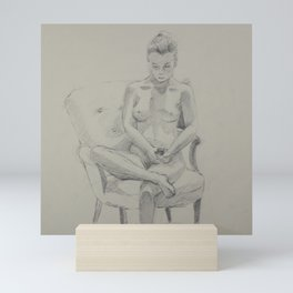 Study of a Seated Nude Mini Art Print