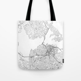 Auckland White Map Tote Bag
