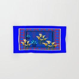 Blue Art White Calla Lilies Red Patterns Hand & Bath Towel
