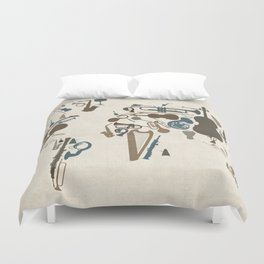 Musical Instruments Map of the World Duvet Cover