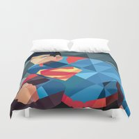 dc comics Duvet Covers featuring DC Comics Man of Steel by Eric Dufresne