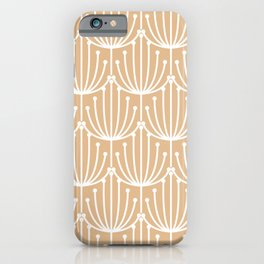 Retro Art, Floral Prints, Peach and White iPhone Case