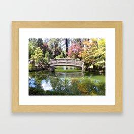 Small Wood Bridge Over Pond In Japanese Garden Framed Art Print