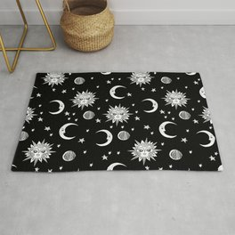 Linocut black and white sun moon and stars outer space zodiac astrology gifts Rug