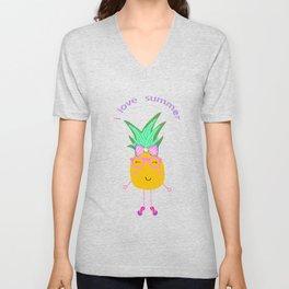 Cute Hipster Pineapple Unisex V-Neck